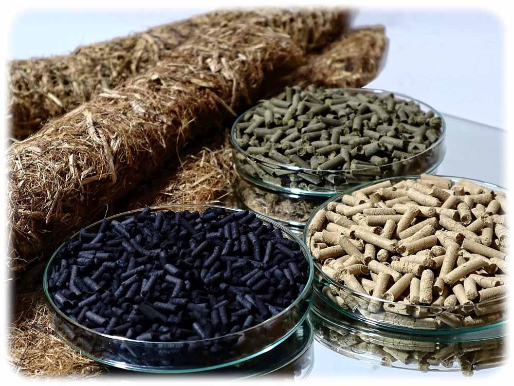 Das BioMatUse-Produktportfolio: Fasermatten, Bodenverbesserungsstoffe und geformte Aktivkohlen. Foto: TU Bergakademie Freiberg